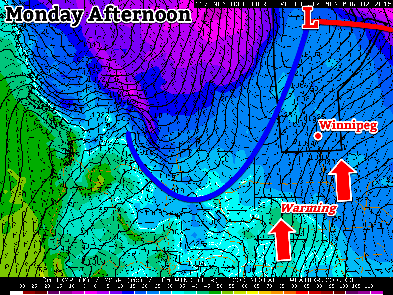 Monday will be warm and windy as strong southerlies develop