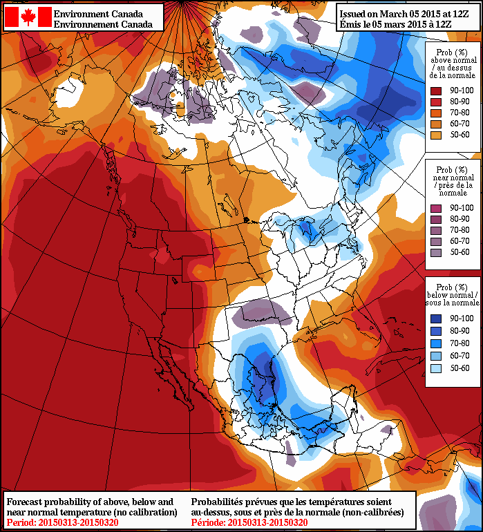 NAEFS 8-14 Temperature Anomaly Forecast (issued 12Z March 5, 2015)