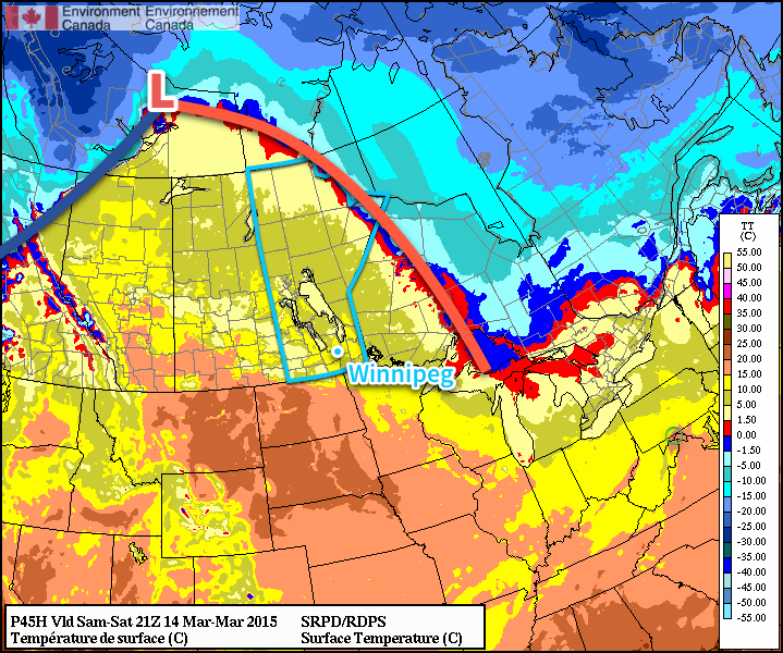 RDPS Surface Temperature – 21Z March 15, 2015