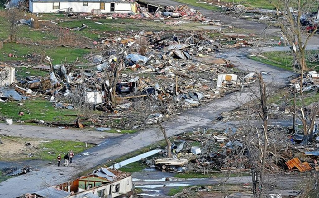 Aerial view of the damage to the trailer park in Sand Springs. (Source: Tulsa World)