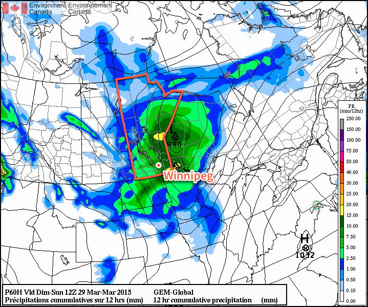 GDPS 12hr. QPF valid 12Z Sunday March 29, 2015