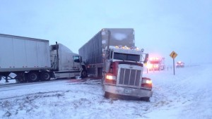 Jackknifed Semi-Truck Accident on Highway 1 near Elie
