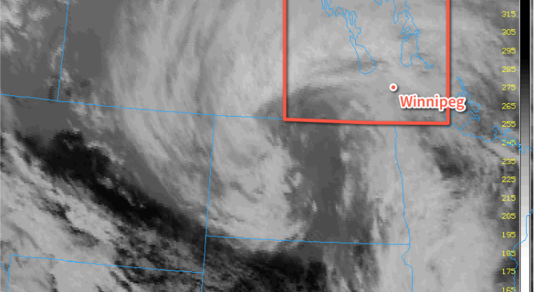 IR Satellite Image of Late-March Storm over the Southern Prairies