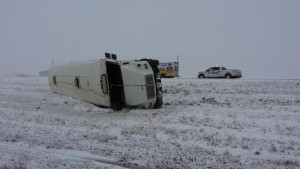 A school bus rolled on Highway 75 near St. Adolphe this morning.