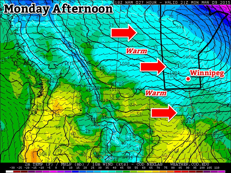 Monday will be above-seasonal as a mild westerly flow moves across the Prairies