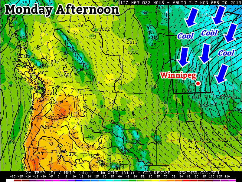 Cool weather will prevail on Monday under a stiff northerly flow