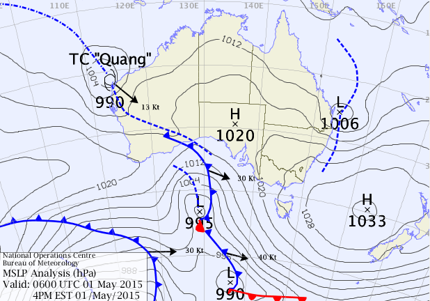 Surface Map analysis from overnight Thursday shows the east coast low just off Australia's eastern shores and the tropical storm Quang about to make landfall on Western Australia territory. (Source: BoM)