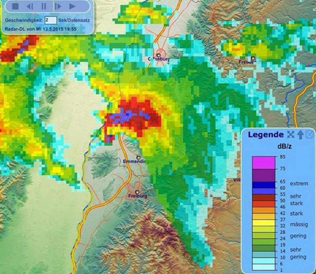 Radar scan of the supercell north of Freiburg, Germany. Note the hook echo and even possible debris ball. (Source: Meteo Europe)