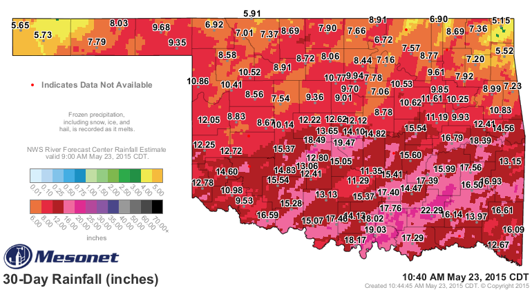 Past 30-day rainfall in Oklahoma shows significant rainfall across much of the state, with a 495mm tally in Norman.