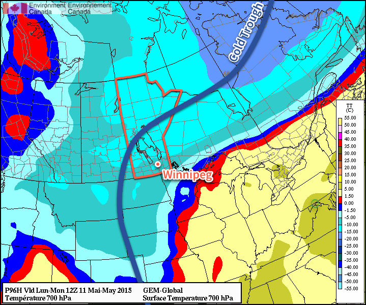 The GDPS clearly shows a trough of cold air remaining entrenched over Manitoba.