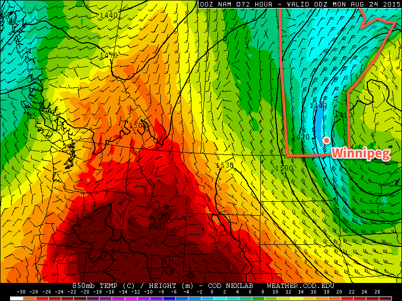 NAM Forecast 850mb Temperatures and Winds for Sunday Evening