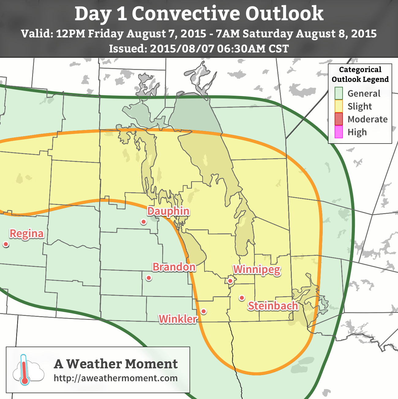 AWM Convective Outlook valid 12PM Friday August 7, 2015 to 7AM Saturday August 8, 2015