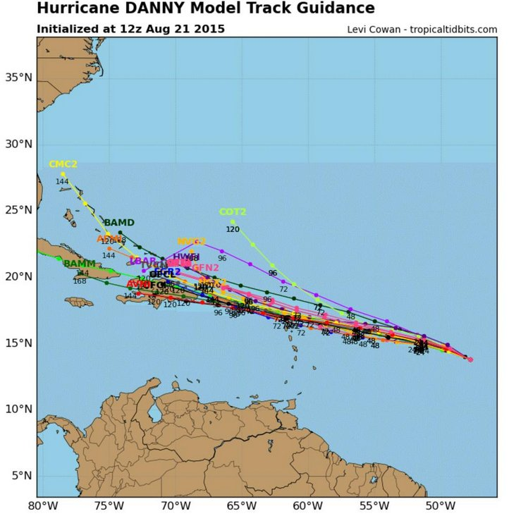 Different model tracks for Danny - some models want to curve it northwards faster than others. (Source: Tropical Tidbits)