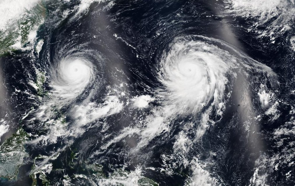 Beautiful satellite image taken on the 20th that captures both Goni and Atsani in the western Pacific. (Source: NASA)