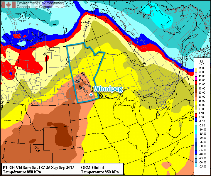 Forecasted 850mb temperatures from the GDPS weather model