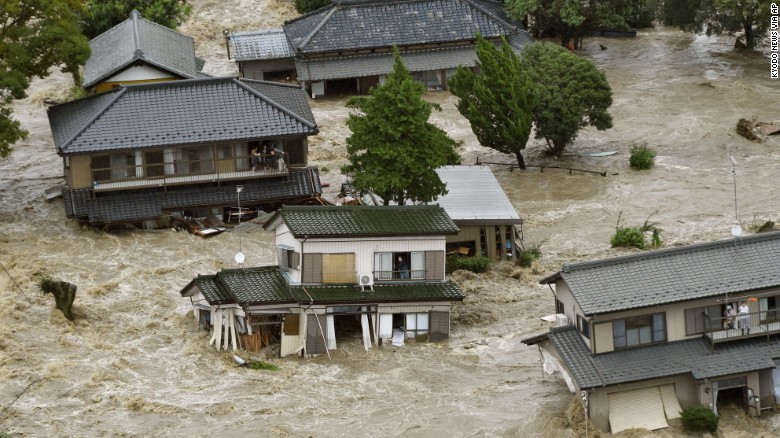 Flooding in the city of Joso, where floodwaters nearly reached the second story of homes. (Source: CNN)