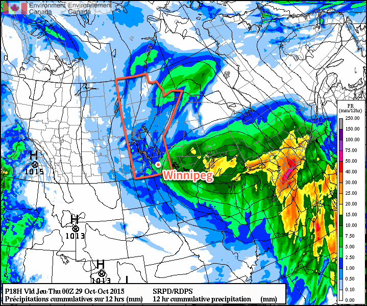 RDPS 12hr QPF valid for 00Z Wednesday October 28, 2015