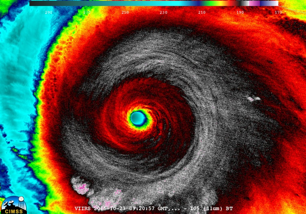 Enhanced IR image of Patricia early Friday morning. (Source: CIMSS)