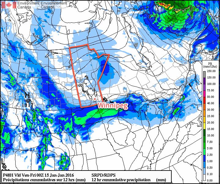 RDPS 12hr. Precipitation Accumulation for Thursday