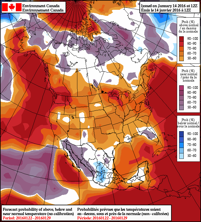 NAEFS 8-14 Day Temperature Anomaly Forecast – Valid January 22 - 29, 2016
