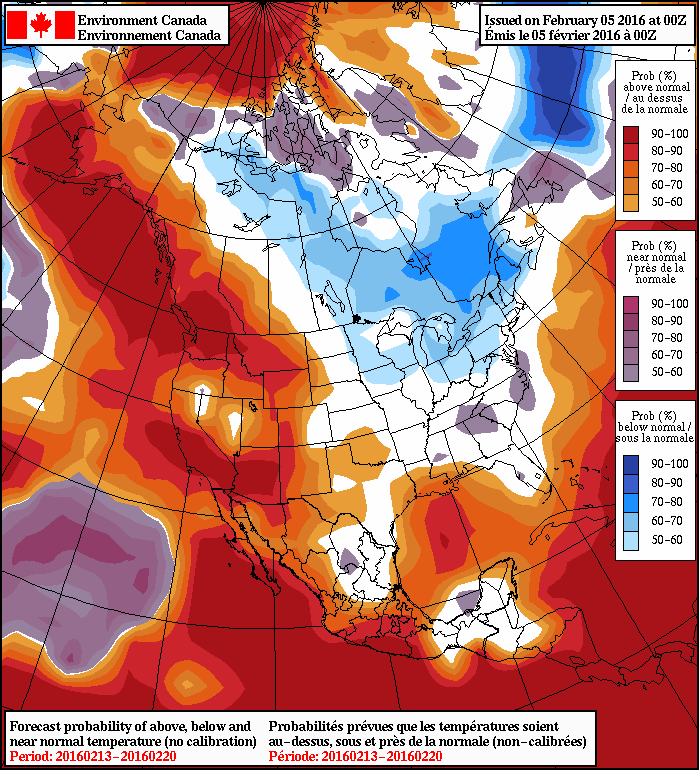 NAEFS 8-14 Day Temperature Anomaly Forecast —Valid February 13-20, 2016
