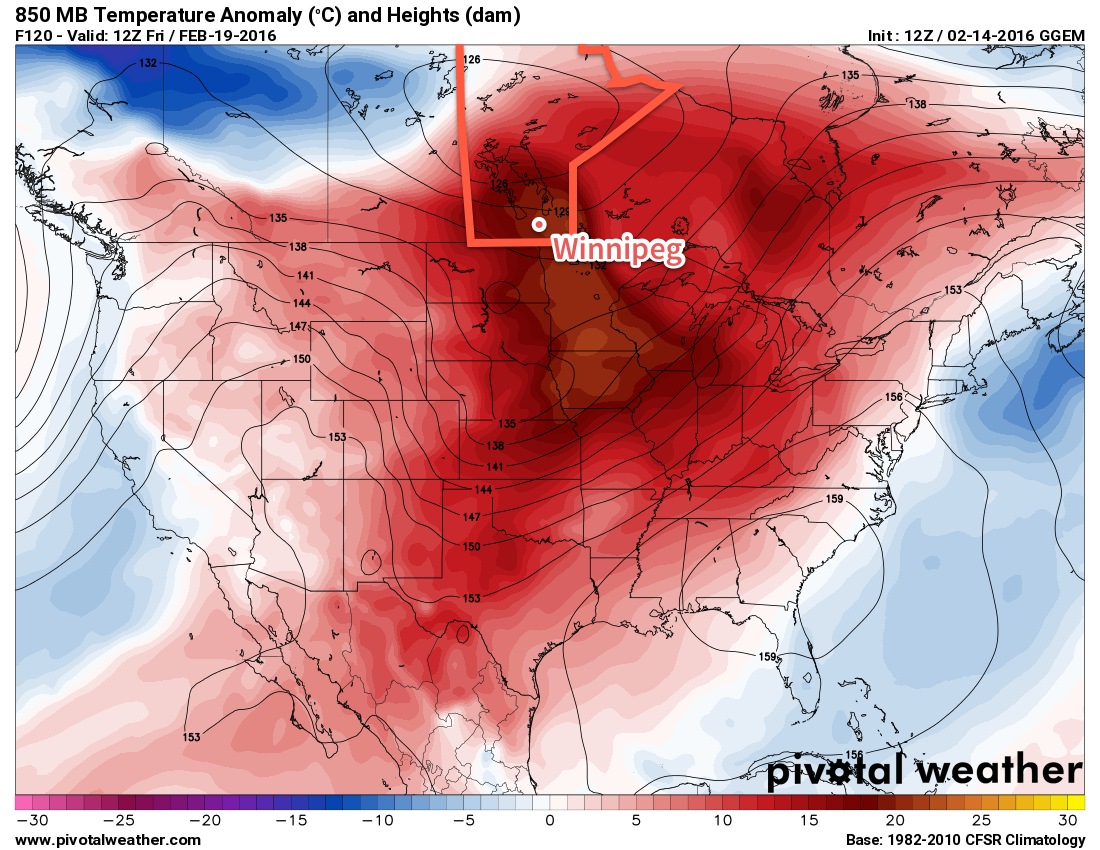 GDPS Forecast 850mb Temperature Anomalies valid 12Z Friday February 19, 2016
