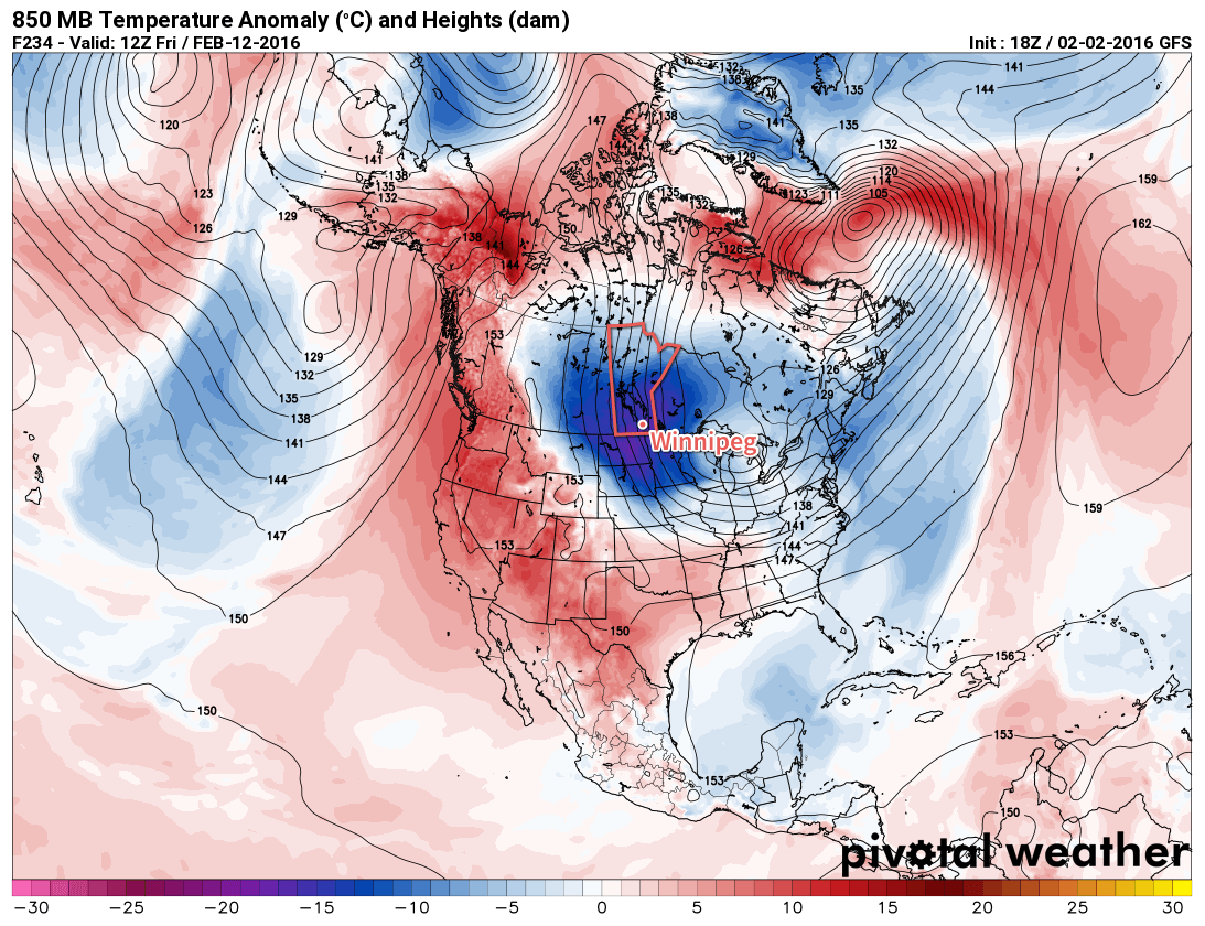 GFS-based forecast of 850mb temperature anomalies for the end of next week