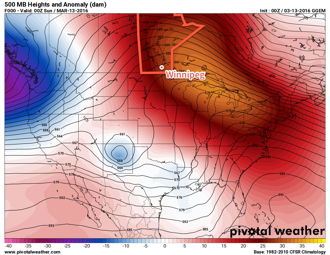 GDPS 500mb height anomalies valid the evening of Saturday March 12, 2016