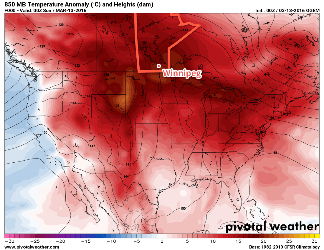 GDPS 850mb temperature anomalies valid the evening of Saturday March 12, 2016