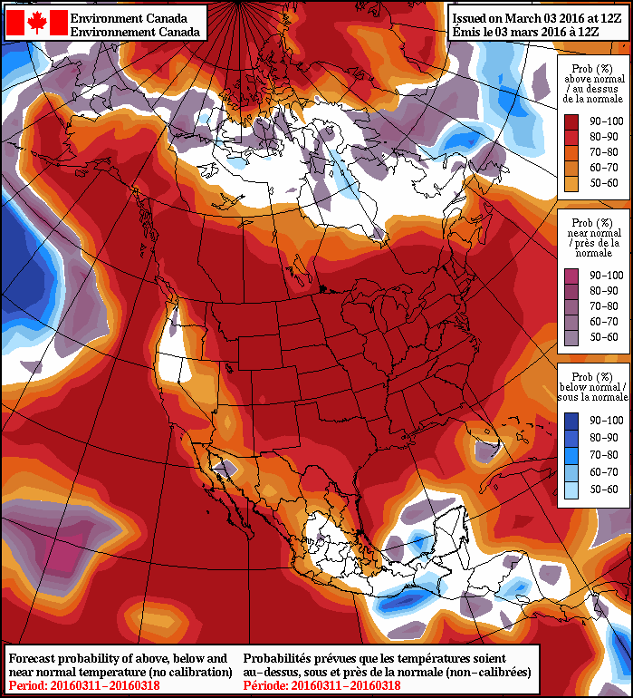 NAEFS 8-14 Day Temperature Anomaly Forecast — Valid March 11-18, 2016