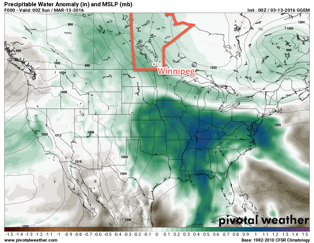 GDPS precipitable water anomalies valid the evening of Saturday March 12, 2016