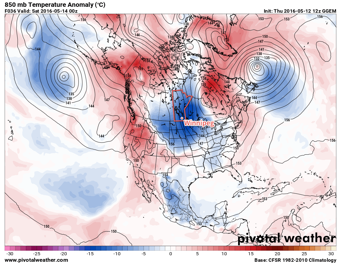 GDPS Forecast 850mb Temperature Anomaly