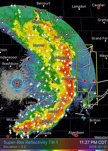 A bow echo raced across central ND as storms consolidated into a line by late evening.