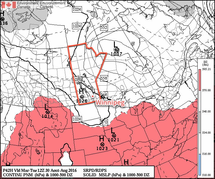 A ridge of high pressure aligned through Saskatchewan into southwestern Manitoba will bring benign weather to the region.