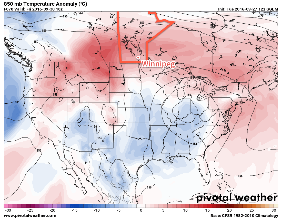 The red colours on this map of 850mb temperature anomalies shows the warmer than normal weather expected over Southern Manitoba this week.