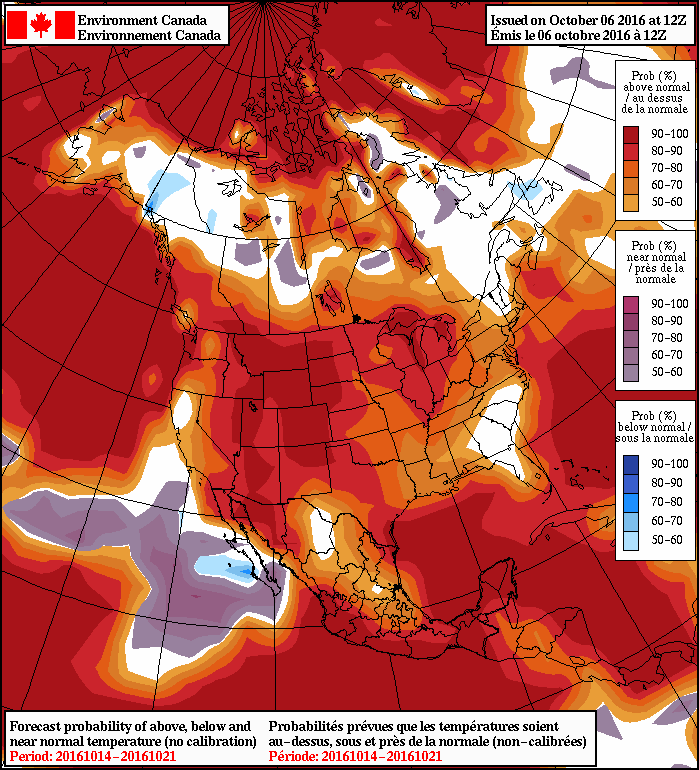 NAEFS Temperature Anomaly Forecast valid October 14 to October 21, 2016.