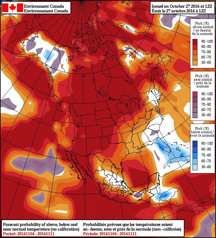 NAEFS 8-14 Day Temperature Anomaly Forecast —Valid November 4, 2016 to November 11, 2016
