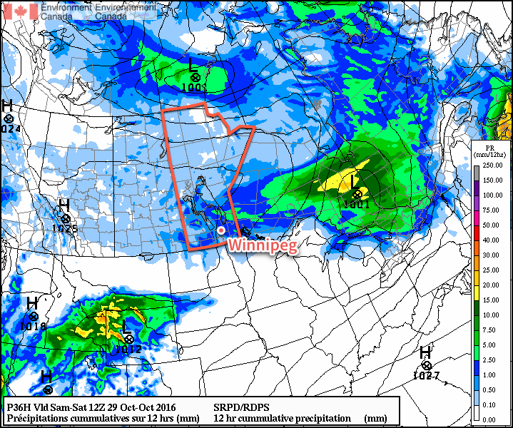 Light shower activity is expected across Southern Manitoba on Friday night.