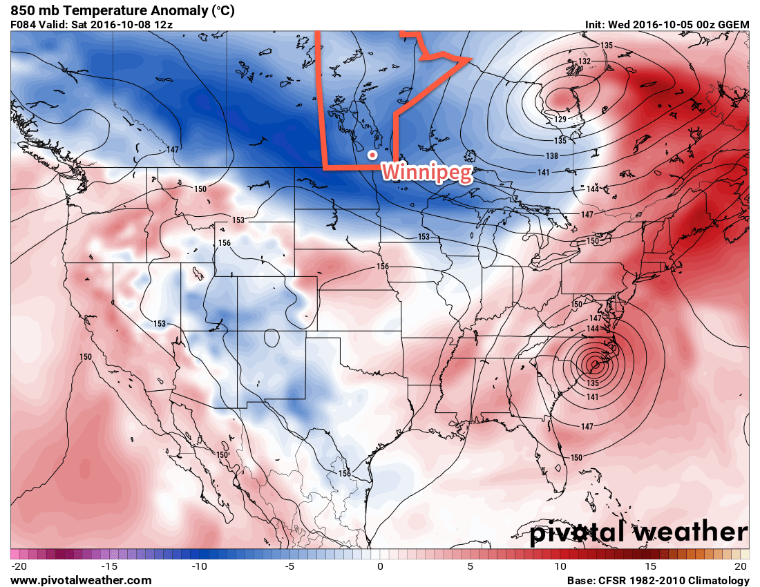 Below-normal temperatures (blue) are expected across the entire Prairies in the wake of a powerful low pressure system that moved through the region in the first half of the week.