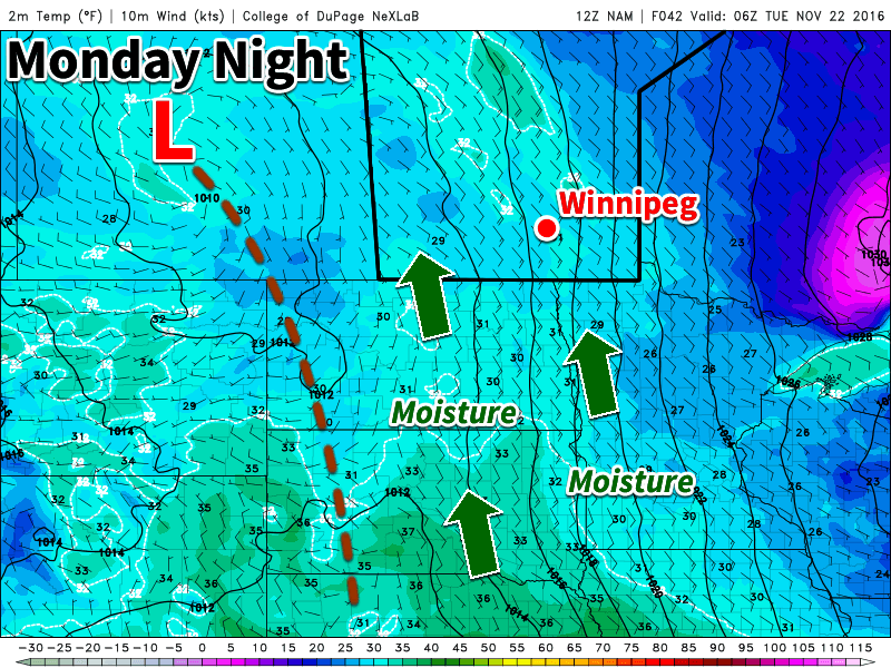 An inverted trough pattern associated with a strong system to our south may help bring snowfall to southern Manitoba
