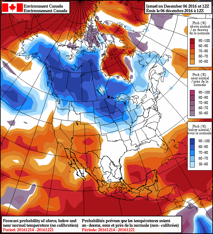 NAEFS 8-14 Day Temperature Anomaly Forecast — Valid December 14 to 21, 2016
