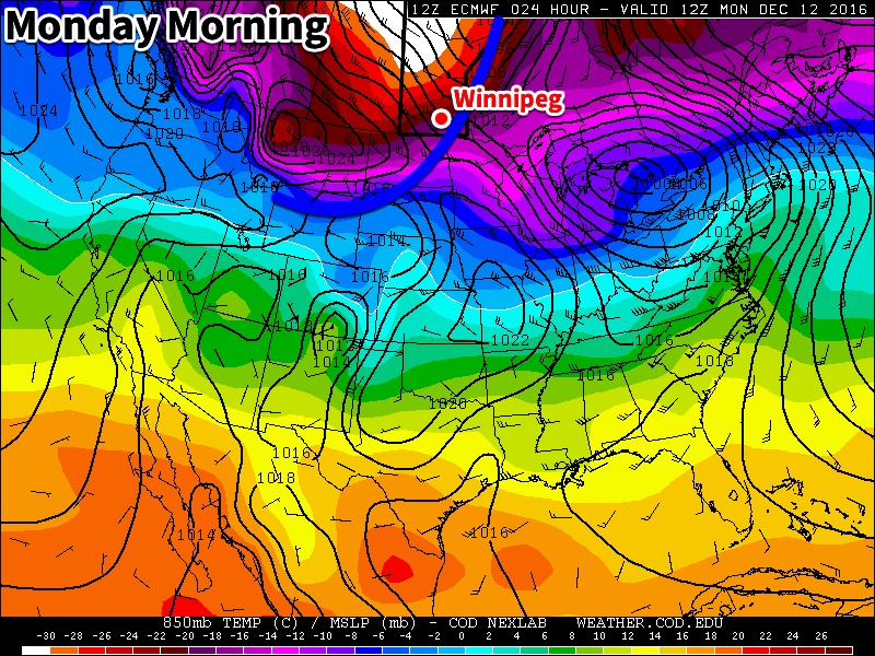 The ECWMF model output for today shows very cold temperatures moving into southern Manitoba behind an arctic cold front