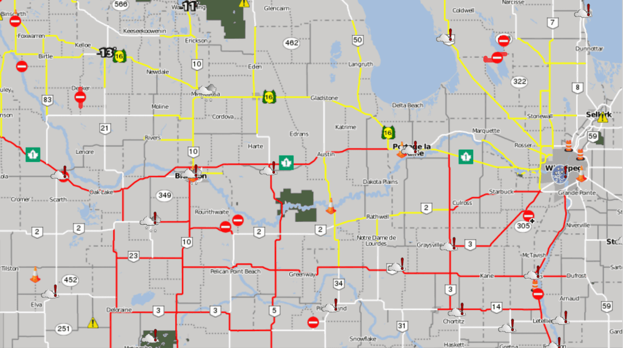 This map from 8:20PM yesterday shows the extensive road closures (red) across Southern Manitoba.