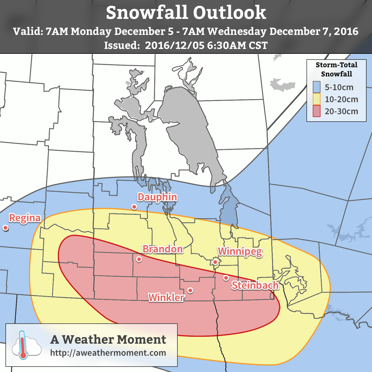 Expect storm-total snowfall accumulations by Wednesday morning.