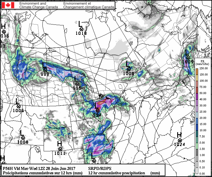 A band of showers and thunderstorms will push across southwestern Manitoba towards the Red River Valley early Wednesady morning