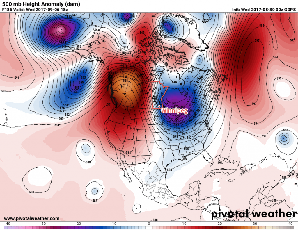 GDPS Forecast 500mb Height Anomaly valid 18Z Wednesday September 6, 2017