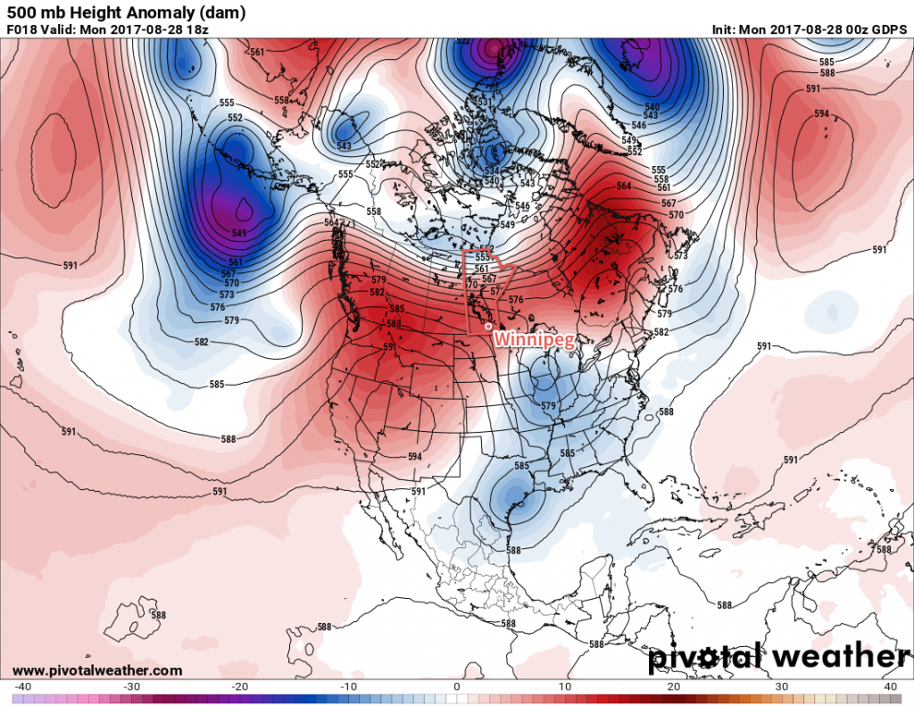 GDPS Forecast 500mb Height Anomaly valid 18Z Monday August 28, 2017