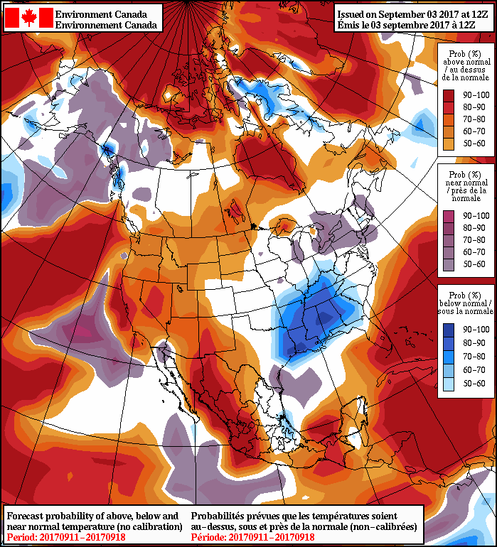 NAEFS 8-14 Day Temperature Anomaly Forecast — Valid September 11-18, 2107