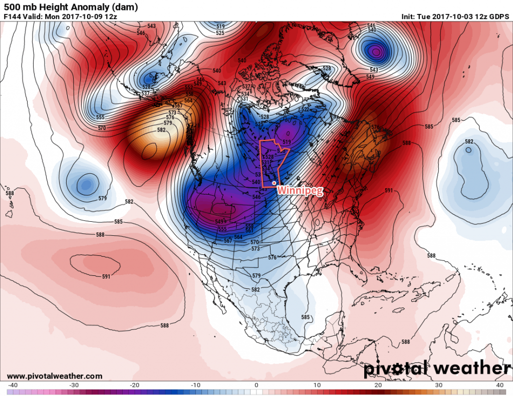 GDPS Forecast 500mb Height Anomaly valid 12Z Monday October 9, 2017