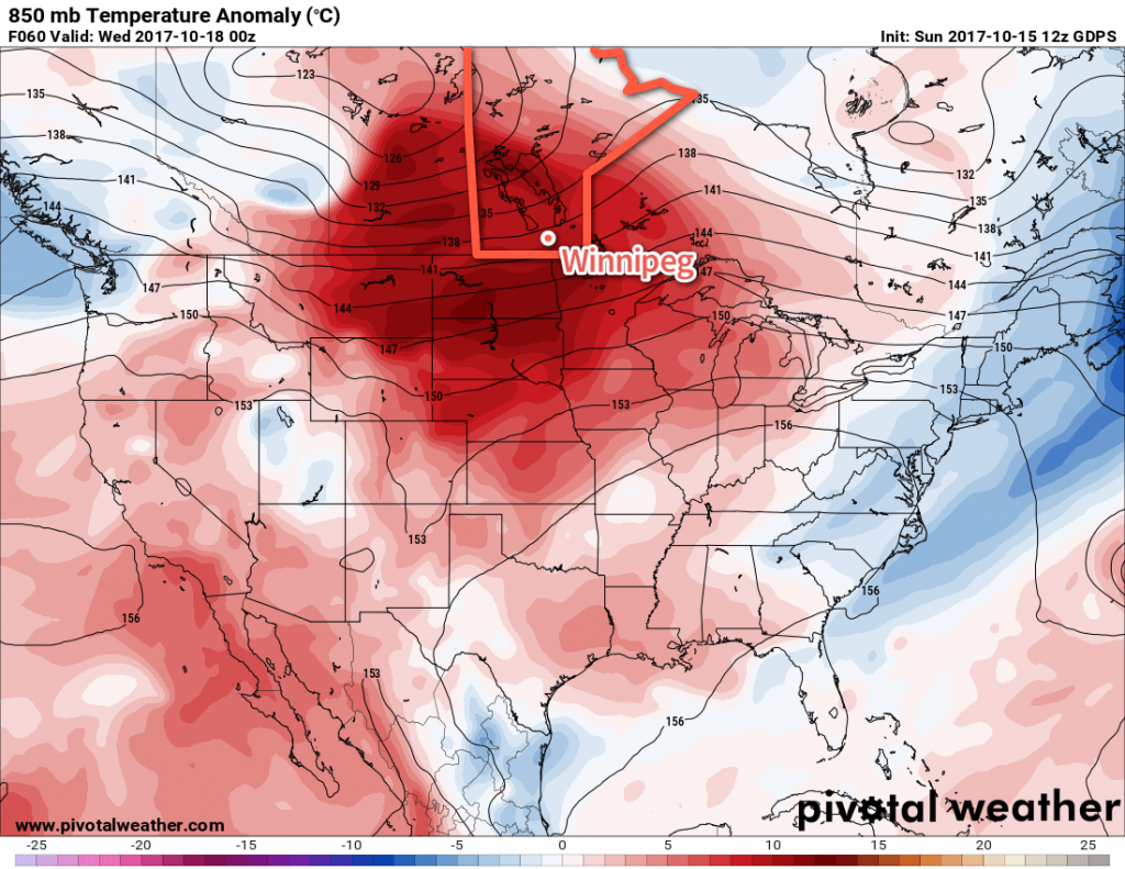GDPS Forecast 850mb Temperature Anomalies valid 00Z Wednesday October 18, 2017
